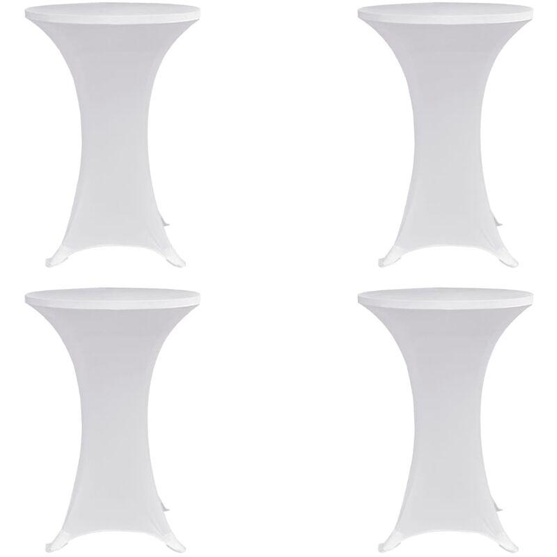 Housses élastiques de table Ø 70 cm Blanc 4 pcs