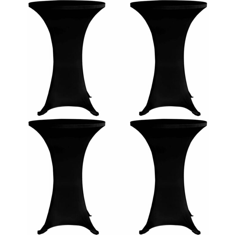 Housses élastiques de table Ø 70 cm Noir 4 pcs