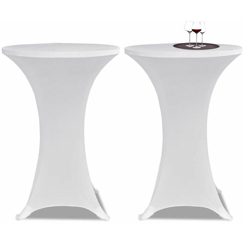 Ilovemono - Housses élastiques de table Ø 80 cm Blanc 2 pcs