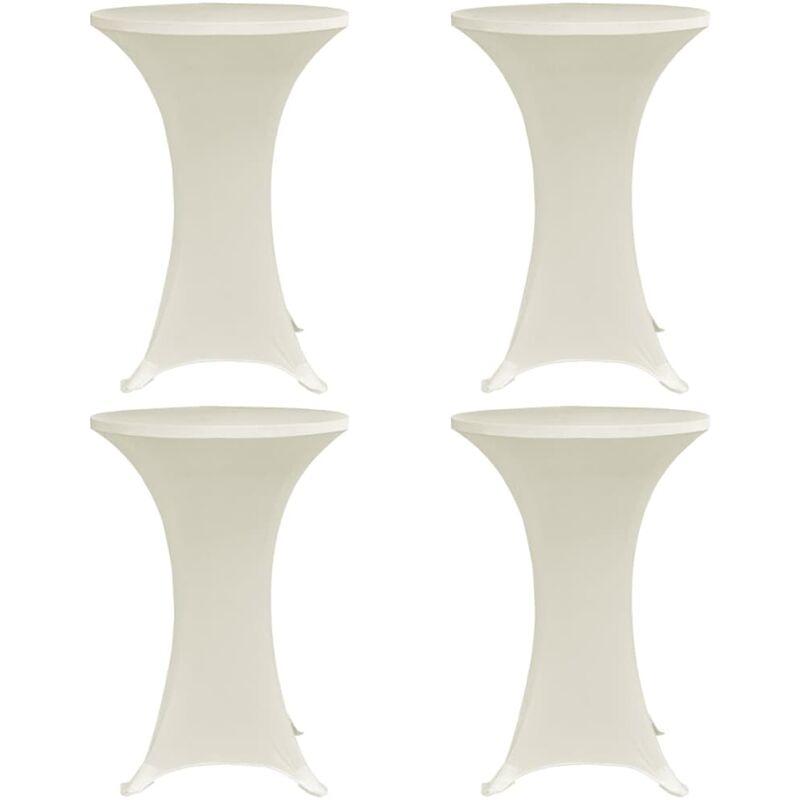 Housses élastiques de table Ø 80 cm Crème 4 pcs