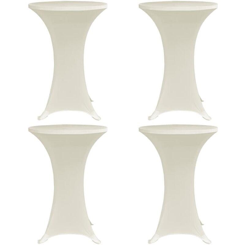 Housses elastiques de table ? 80 cm Creme 4 pcs
