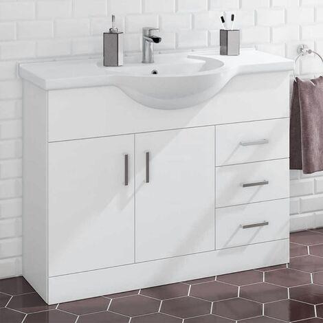 Houston 1060mm Floor Standing 2 Door Basin Vanity Unit Gloss White