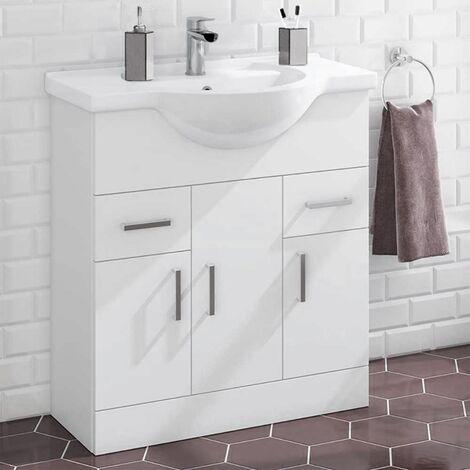 Houston 750mm Floor Standing 3 Door Basin Vanity Unit Gloss White
