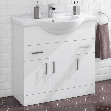 Houston 850mm Floor Standing 3 Door Basin Vanity Unit Gloss White