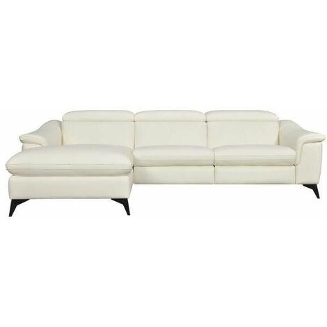 HOUSTON Canape dangle gauche 1 place relax electrique - Cuir beige - L 268 x P 103 x H x 76 cm