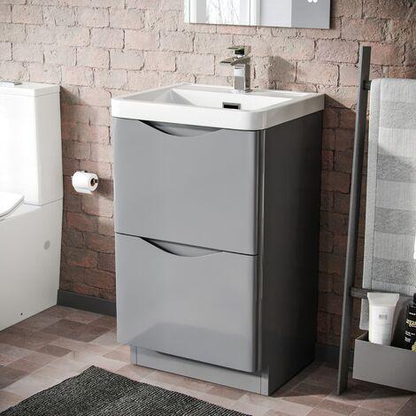 Howards 500 Floor Standing Basin Vanity Unit 2 Drawer Storage Cabinet Gloss Light Grey