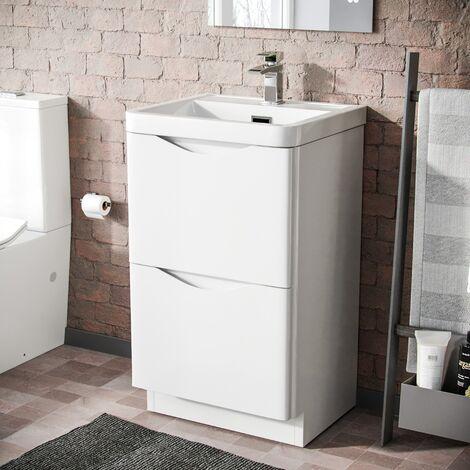 Howards 500 Floor Standing Basin Vanity Unit 2 Drawer Storage Cabinet Gloss White