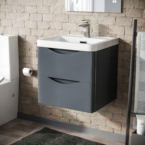 Howards 500 Wall Hung Basin Vanity Unit 2 Drawer Bathroom Storage Cabinet Grey