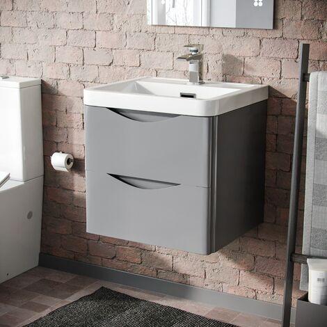 Howards 500 Wall Hung Basin Vanity Unit 2 Drawer Bathroom Storage Cabinet Light Grey