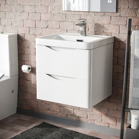 Howards 500 Wall Hung Basin Vanity Unit 2 Drawer Bathroom Storage Cabinet White