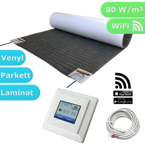 HoWaTech Lux WIFI Elektrische Fußbodenheizung | Set mit Heizmatte und WLAN Regler: 5.5m / 2.75m²