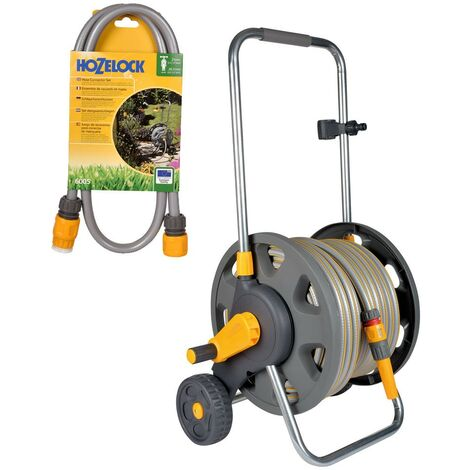 Hozelock 2434 Wheeled Floor Standing Hose Reel 30m Hose & Tap Connection Set