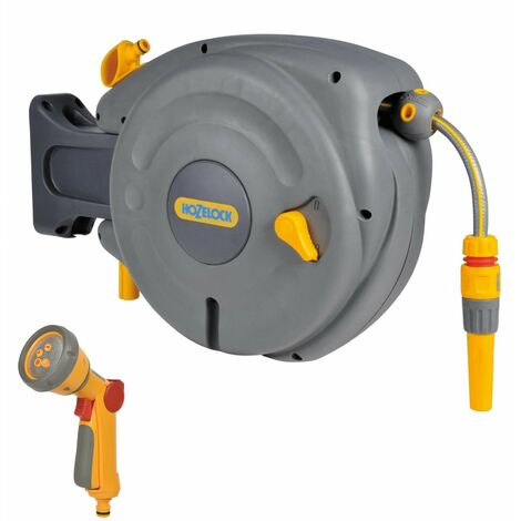 Hozelock 2485 10m Mini Hose Reel Automatic Retracting Auto Reel & 2676 Spray Gun