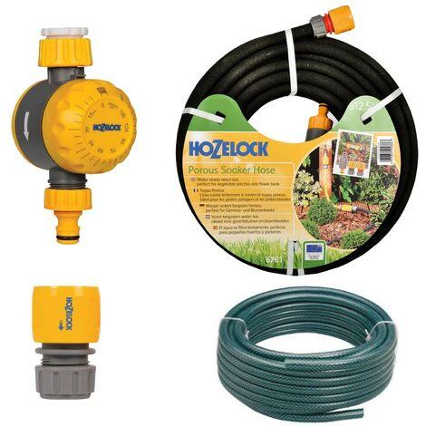 Hozelock 6764 25M Standard Soaker Porous Hose Kit - 2210 Water Timer, 15m Hose