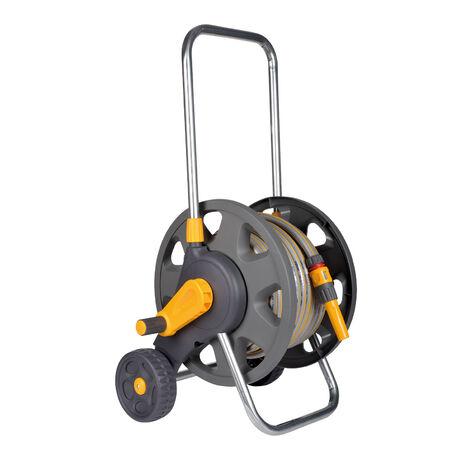 Hozelock Enrouleur de tuyau pré-assemblé + 30m tuyau, Ø 12,5mm, incl. accessoires, capacité 45m