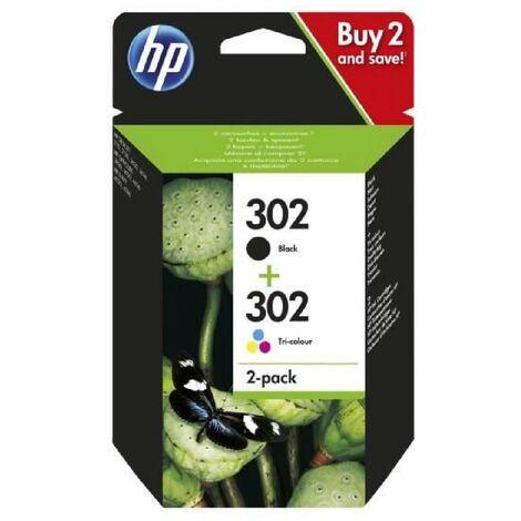 HP 302 pack de 2 cartouches d'encre noire/trois couleurs authentiques pour HP DeskJet 2130/3630 et HP OfficeJet 3830 (X4D37AE)