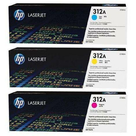 HP 312A pack de 3 toners LaserJet cyan/magenta/jaune authentiques (CF440AM) pour HP Color LaserJet Pro M476