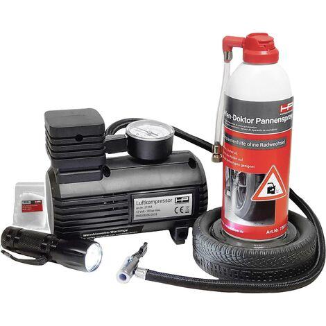 HP Autozubehör 10257 Reifenpannenset Set réparation pour pneus fonction de mesure de la pression des pneus, lampe LED pour voitures (L x l x H) 28 x A739202