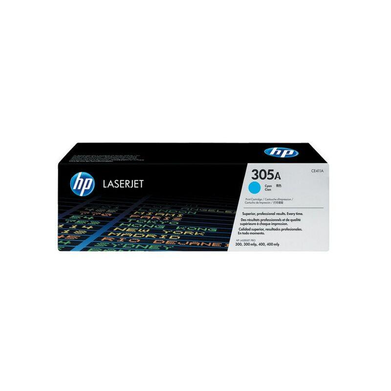 Image of Hewlett Packard HPCE411A Cyan Toner Cartridge NO.305A