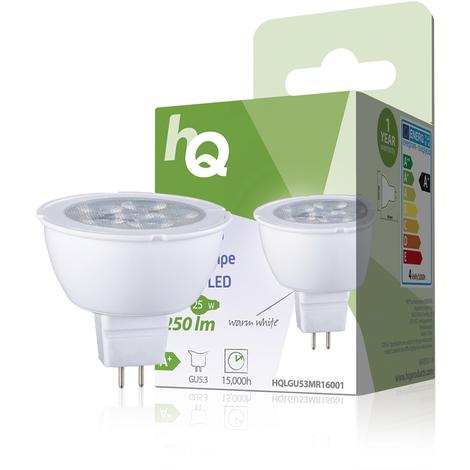 HQ Bombilla LED MR16 GU5.3, 4 W, 250 lm, 2700K, bajo consumo de energía