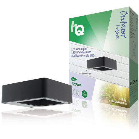 HQ Luz de pared LED para exteriores de diseño cuadrado, color antracita, larga vida útil, 120 lúmenes, 6 W de potencia