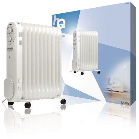 HQ Radiador de aceite portátil de 11 cuerpos y 2200 W, protección antivuelco, fácil transporte, 3 ajustes y termostato