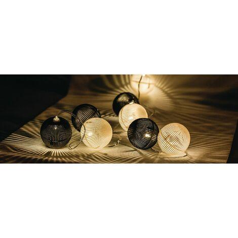 2m. guirnalda Led con 10 bolas blancas y negras 3xAAA (HQ HQLedsLPBALL)