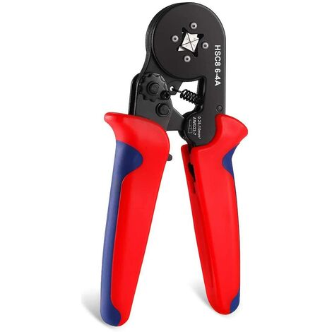 Hsc8 6-4 0.25-6mm² Awg23-10 Self-Adjusting Ratchet Ferrule Crimping Pliers Pliers Crimping Tool Bootlace Ferrule End Wire End Cap Red Lug