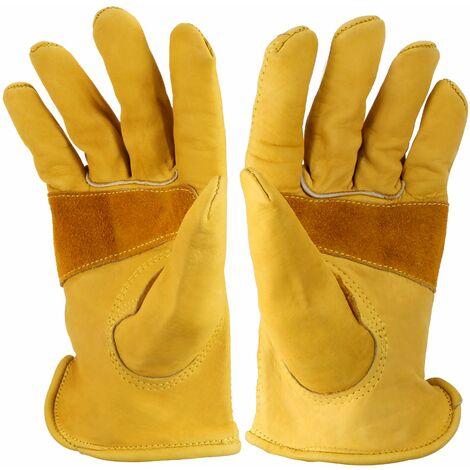 Hseamall Gants de travail en cuir de vachette grainé avec poignet, gants de jardinage robustes pour hommes et femmes pour le travail dans la cour, la ferme, la moto XL 21x 17.5 x 2.3cm