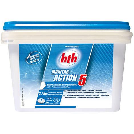 HTH Maxitab Action 5 - chlore multiactions Quantité - Seau de 2,7 kg