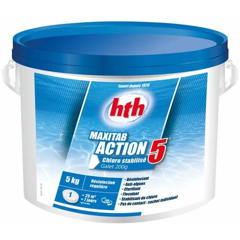 hth Maxitab Action 5 - Chlore stabilisé multifonction galet 200g