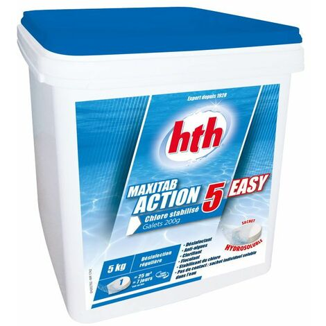 hth Maxitab Action 5 Easy 5kg - Chlore stabilisé multifonction en Galet 200g