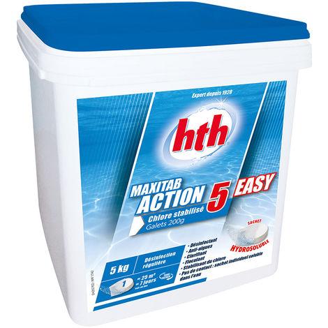 HTH Maxitab action 5 Easy - chlore lent multiactions Quantité - Seau de 5 kg