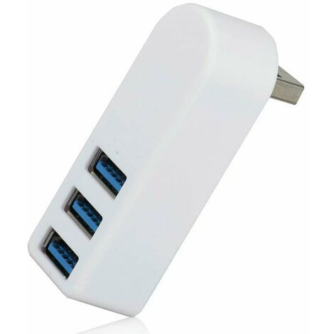 Hub USB 3.0 Répartiteur USB rotatif à 270 ° Hub mini USB 3.0 en aluminium à 3 ports, concentrateur de données adapté pour MacBook, ordinateur portable Windows et UltrabookPC et autres appareils compatibles USB 3.0 (blanc)