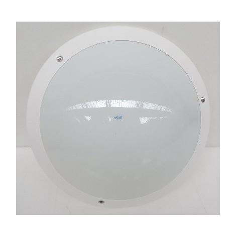 Hublot extérieur Ø 340mm blanc à detection HF pour lampe E27 230V (non incl) polycarbonate opale IK07 IP54 SPO SARLAM 524475
