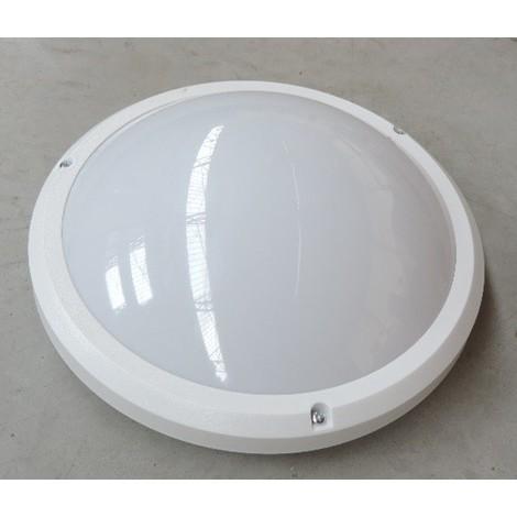 Hublot extérieur à detection HF blanc Ø 265mm pour lampe E27 230V (non incl) antivandale IK10 IP54 SATURN PROTEC SATURNDETECT