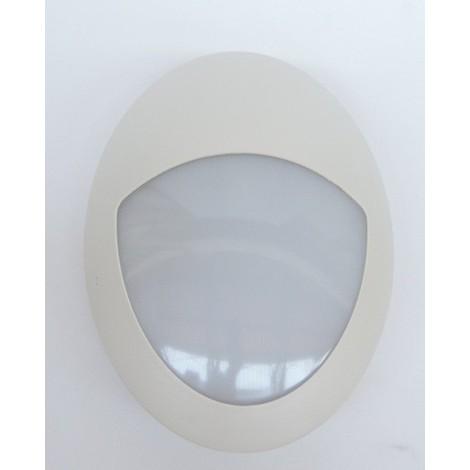 Hublot extérieur LED 6W ovale 290X200mmn demi visiere plastique blanc lumiere neutre 4000K 230V IK08 IP66 DOLIGHT 2906-BJB