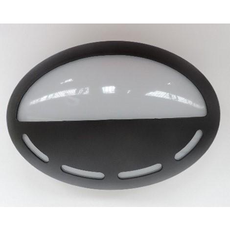 Hublot extérieur LED 7W ovale 290X200mmn demi visiere ajourée plastique noir lumiere 4000K 230V IK08 IP66 DOLIGHT 2907-BJN