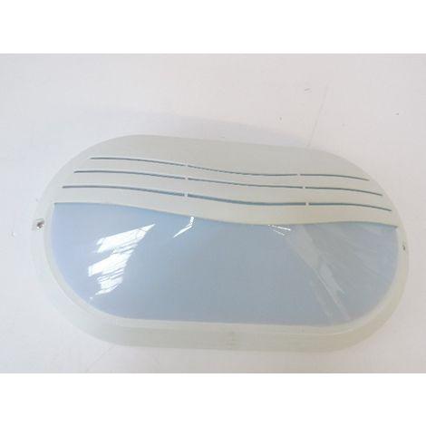 Hublot fluo 2X9W ovale 330X180mm visière blanche lampes 2G7 (non incl) 230V + inter IK10 IP65 ELLIPSE-MAXI DECOLITE 9804209WVI
