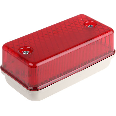 Hublot luminaire, RS PRO LED 110 V c.a./c.c. Rouge IP64 Polycarbonate, Forme Rectangulaire, , avec diffuseur Rouge