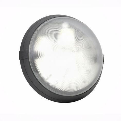 Hublot noir antivandale avec diffuseur polycarbonate transparent Super 400 à détection HF et douille E27 à équiper (700576)