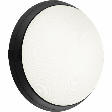 Hublot noir standard avec diffuseur verre trempé transparent Super 400 avec fonction ON et OFF et douille E27 à équiper (500276)