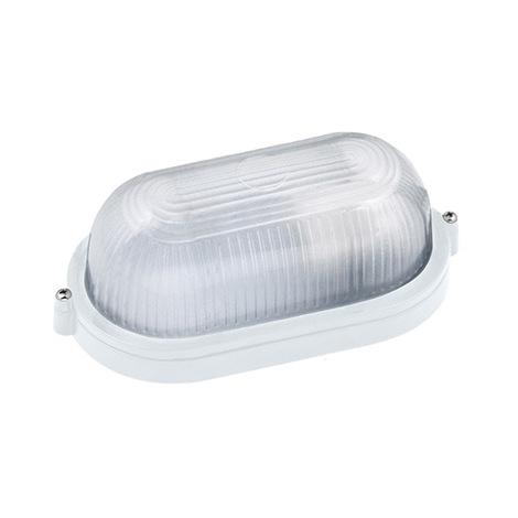 Hublot ovale blanc 60W (Eq. 12W FLC - 8W LED) IP54 E27 Dim. 210x80x105mm