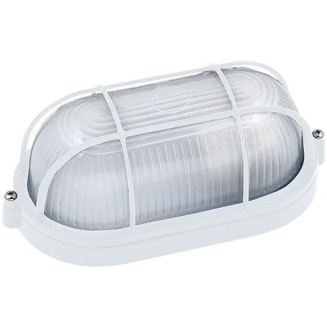 Hublot ovale blanc + grille de protection 60W (Eq. 12W FLC - 8W LED) IP54 E27 Dim. 210x85x105mm