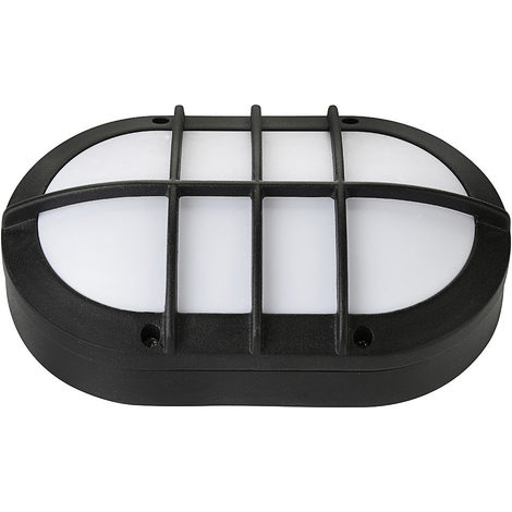 Hublot ovale noir à LED 8W (Eq. 64W) IP54 4000K grille protection Dim. 130x211x57mm