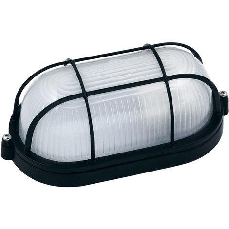 Hublot ovale noir + grille de protection 60W (Eq. 12W FLC - 8W LED) IP54 E27 Dim. 210x85x105mm