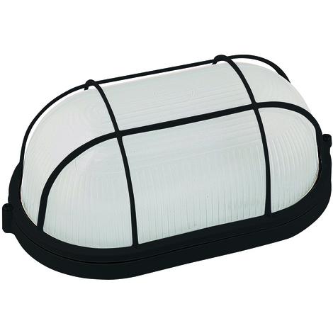 Hublot ovale noir + grille de protection E27 100W (Eq. FLC 20W - LED 12W) IP54 Dim. 275x120x155mm