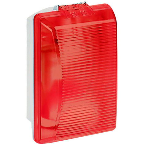 Hublot rectangulaire étanche Plexo avec diffuseur rouge pour lampe E27 (062402)