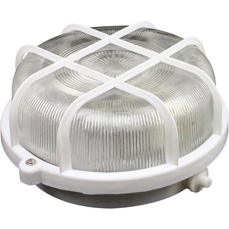 Hublot rond 60W avec grille IP44 E27 Blanc