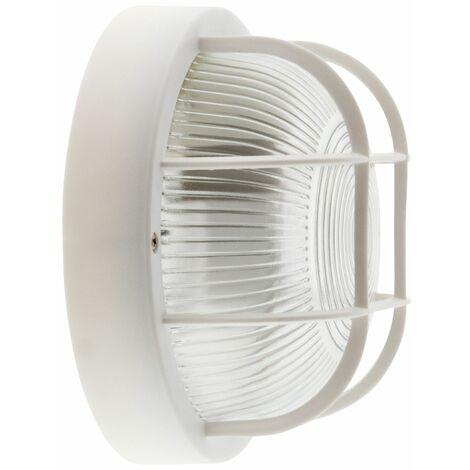 Hublot rond avec grille IP44 E27 Classe II Blanc - Puissance 60W ou 100W